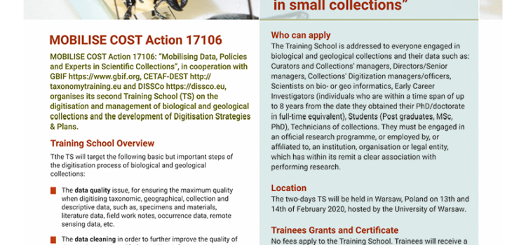The Second Training School on Digitization and Data Management of Collections!